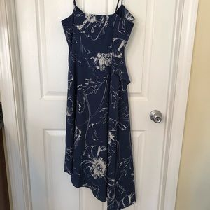 Blue floral asymmetrical flowy dress